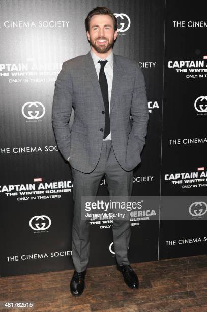 Actor Chris Evans attends The Cinema Society Gucci Guilty screening of Marvel's 'Captain America The Winter Soldier' at Tribeca Grand Hotel on March...