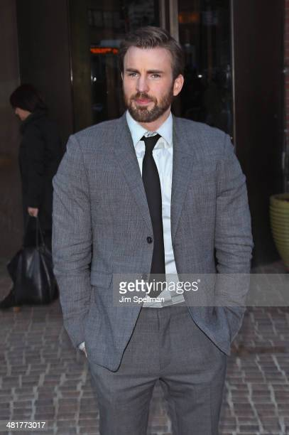 Actor Chris Evans attends The Cinema Society Screening of Captain America The Winter Soldier Screening at Tribeca Grand Hotel on March 31 2014 in New...