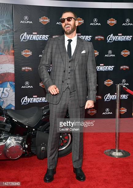 Actor Chris Evans attends the Los Angeles premiere of 'Marvel's Avengers' at the El Capitan Theatre on April 11 2012 in Hollywood California