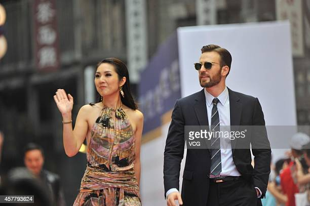 Actor Chris Evans attends the Mission Hills World Celebrity ProAm opening ceremony at Mission Hills Huayi Brothers Feng Xiaogang Movie Town on...