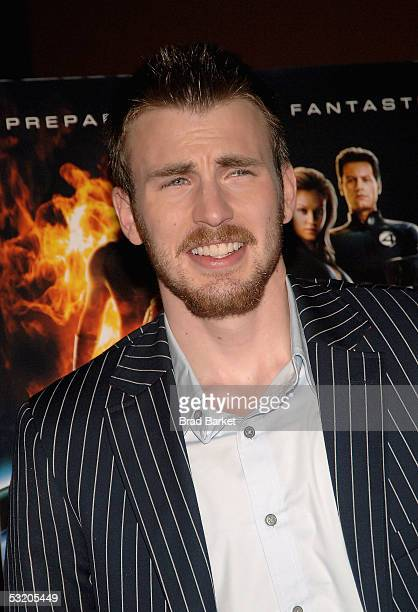 Actor Chris Evans attends the premiere of Fantastic Four on Liberty Island July 6 2005 in New York City