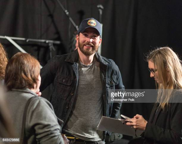 Actor Chris Evans backstage during rehersals for the 89th Annual Academy Awards at Hollywood & Highland Center on February 25, 2017 in Hollywood,...