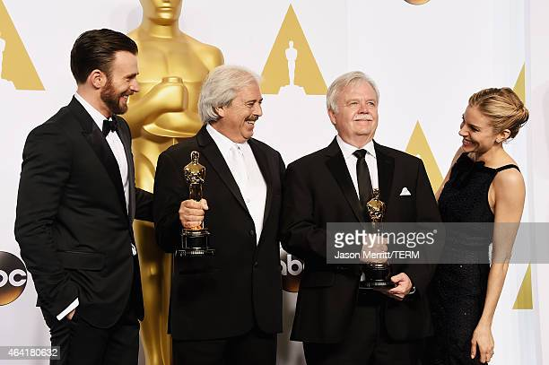Actor Chris Evans Bub Asman and Alan Robert Murray winners of the Best Sound Editing Award for 'American Sniper' and actress Sienna Miller pose in...