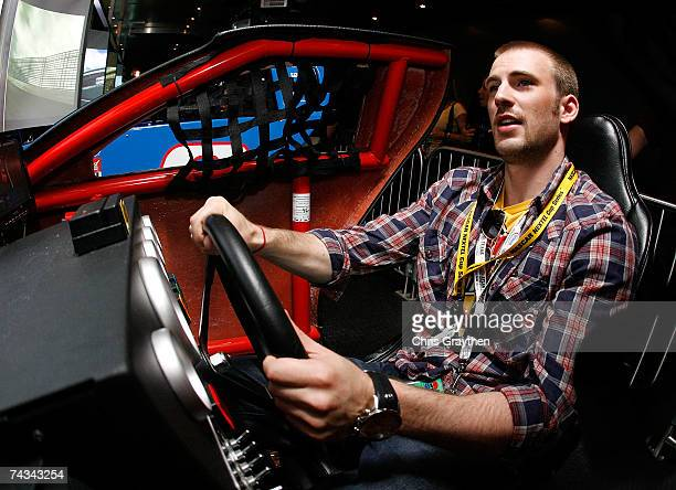 Actor Chris Evans, drives a NASCAR simulator prior to the start of the NASCAR Nextel Cup Series Coca-Cola 600 on May 27, 2007 at Lowe's Motor...
