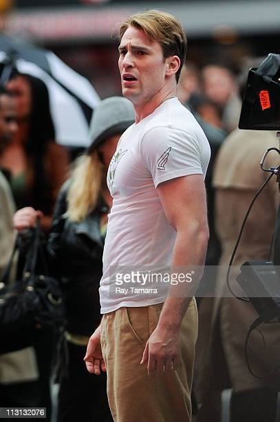 Actor Chris Evans films a scene from Captain America The First Avenger movie set in Times Square on April 23 2011 in New York City