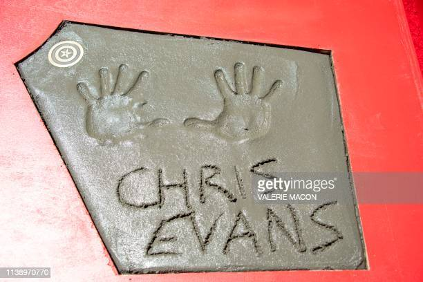 Actor Chris Evans handprints are seen during the Marvel Studios' 'Avengers: Endgame' hand print cement ceremony at TCL Chinese Theatre IMAX Forecourt...