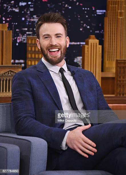 "Actor Chris Evans is interviewed by host Jimmy Fallon during his visit ""The Tonight Show Starring Jimmy Fallon"" on May 03, 2016 in New York, New York."