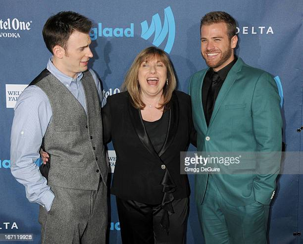 Actor Chris Evans mom Lisa Evans and brother Scott Evans arrive at the 24th Annual GLAAD Media Awards at JW Marriott Los Angeles at LA LIVE on April...