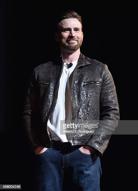 Actor Chris Evans onstage during Marvel Studios fan event at The El Capitan Theatre on October 28 2014 in Los Angeles California