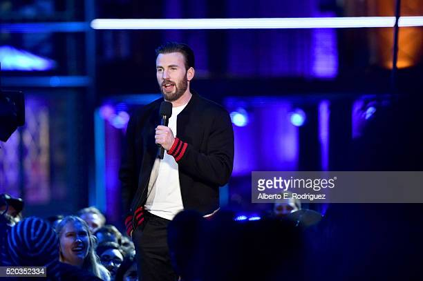 Actor Chris Evans onstage during the 2016 MTV Movie Awards at Warner Bros Studios on April 9 2016 in Burbank California MTV Movie Awards airs April...