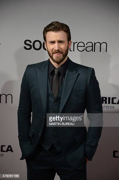 US actor Chris Evans poses during a photocall for the French premiere of Captain America The Winter Soldier on March 17 at the Grand Rex cinema in...