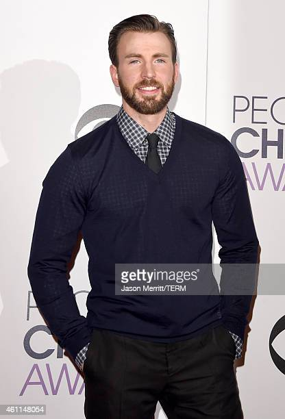 Actor Chris Evans poses in the press room at The 41st Annual People's Choice Awards at Nokia Theatre LA Live on January 7 2015 in Los Angeles...