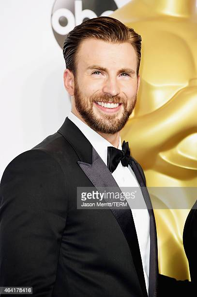 Actor Chris Evans poses in the press room during the 87th Annual Academy Awards at Loews Hollywood Hotel on February 22 2015 in Hollywood California
