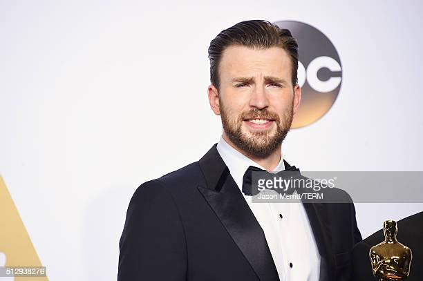Actor Chris Evans poses in the press room during the 88th Annual Academy Awards at Loews Hollywood Hotel on February 28, 2016 in Hollywood,...