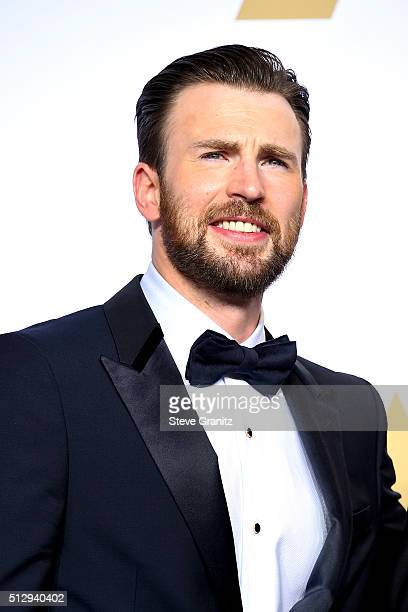 Actor Chris Evans poses in the press room during the 88th Annual Academy Awards at Loews Hollywood Hotel on February 28 2016 in Hollywood California