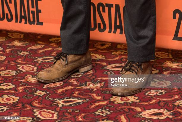 Actor Chris Evans shoe detail attends the 'Lobby Hero' cast meet and greet at Sardi's on February 16 2018 in New York City