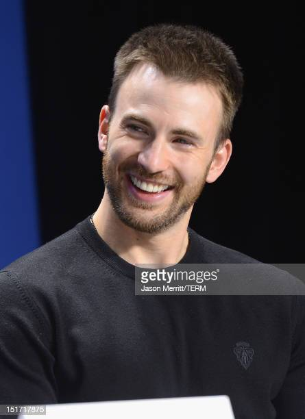Actor Chris Evans speaks onstage at the 'Iceman' Press Conference during the 2012 Toronto International Film Festival at TIFF Bell Lightbox on...