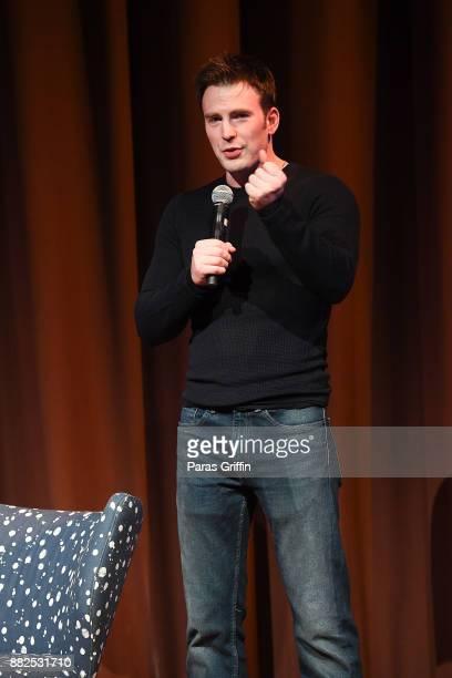 Actor Chris Evans speaks onstage at Wind River special screening at SCADShow on November 29 2017 in Atlanta Georgia