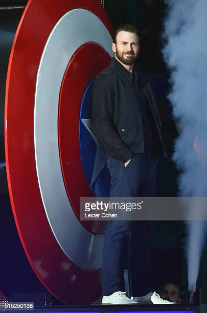 Actor Chris Evans speaks onstage during Nickelodeon's 2016 Kids' Choice Awards at The Forum on March 12 2016 in Inglewood California