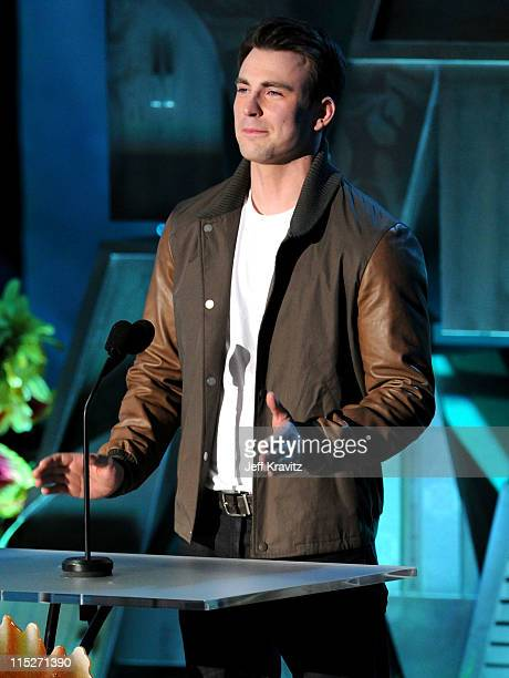 Actor Chris Evans speaks onstage during the 2011 MTV Movie Awards at Universal Studios' Gibson Amphitheatre on June 5 2011 in Universal City...