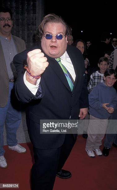 Actor Chris Farley attends the premiere of 'Beverly Hills Ninja' on January 11 1997 at the Avco Theater in Westwood California
