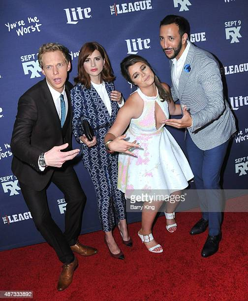 Actor Chris Geere actress Aya Cash actress Kether Donohue and actor Desmin Borges attend the premiere of FXX's 'The League' final season and 'You're...