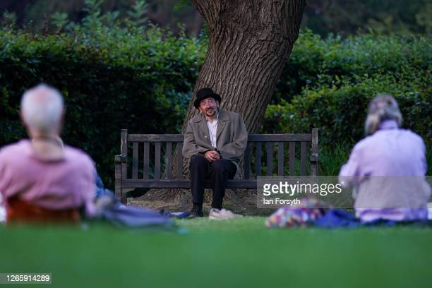 Actor Chris Hannon from the Park Bench Theatre performs Samuel Beckett's 'First Love' during an open air play in a socially distanced covid secure...