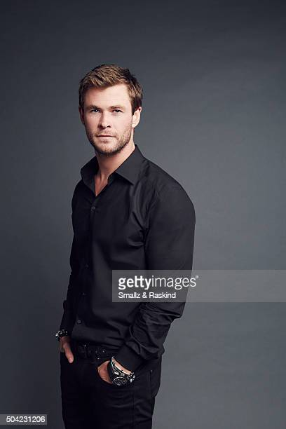 Actor Chris Hemsworth and actor/husband Ben Falcone poses for a portrait at the 2016 People's Choice Awards at the Microsoft Theater on January 6...
