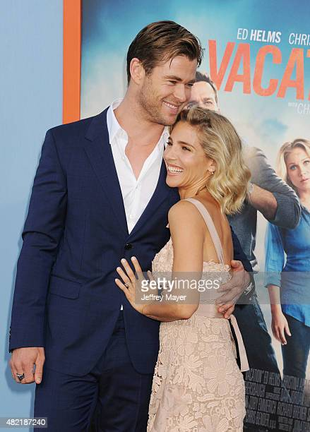 Actor Chris Hemsworth and actress Elsa Pataky arrive at the Premiere Of Warner Bros. 'Vacation' at Regency Village Theatre on July 27, 2015 in...