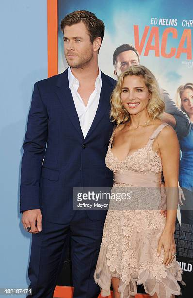 Actor Chris Hemsworth and actress Elsa Pataky arrive at the Premiere Of Warner Bros 'Vacation' at Regency Village Theatre on July 27 2015 in Westwood...