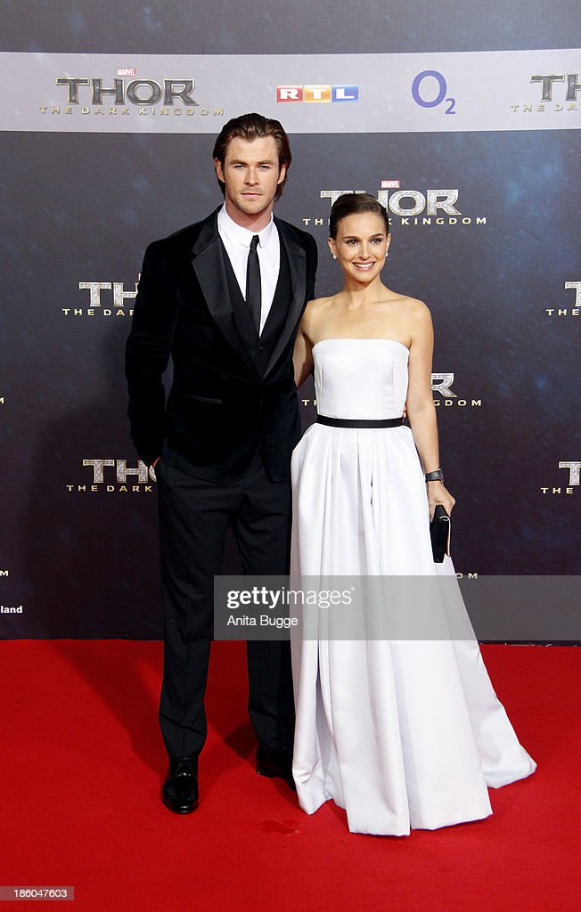 Actor Chris Hemsworth and actress Natalie Portman attends the 'Thor: The Dark World' Germany premiere at Cinestar on October 27, 2013 in Berlin, Germany.