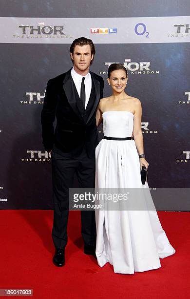 Actor Chris Hemsworth and actress Natalie Portman attends the 'Thor: The Dark World' Germany premiere at Cinestar on October 27, 2013 in Berlin,...