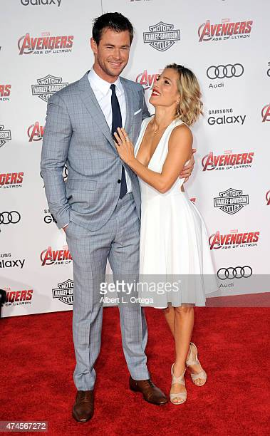 Actor Chris Hemsworth and actress/wife Elsa Pataky arrive for the Premiere Of Marvel's 'Avengers Age Of Ultron' held at Dolby Theatre on April 13...