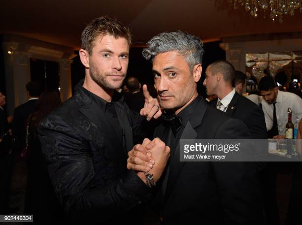 Actor Chris Hemsworth and director Taika Waititi attend the 2018 InStyle and Warner Bros 75th Annual Golden Globe Awards PostParty at The Beverly...