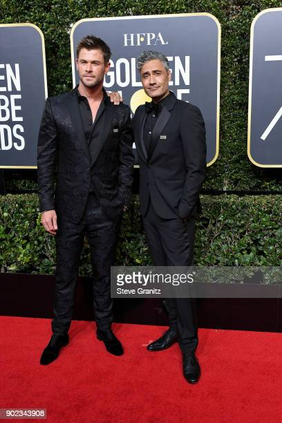 Actor Chris Hemsworth and director Taika Waititi attend The 75th Annual Golden Globe Awards at The Beverly Hilton Hotel on January 7 2018 in Beverly...
