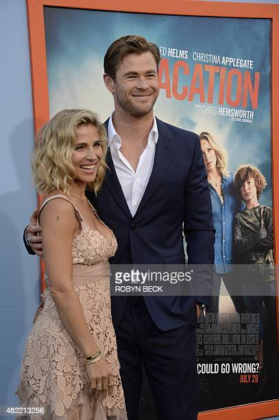 """Actor Chris Hemsworth and Elsa Pataky arrive for the premiere of Warner Bros' """"Vacation,"""" July 27, 2015 at the Regency VillageTheatre in Los Angeles,..."""