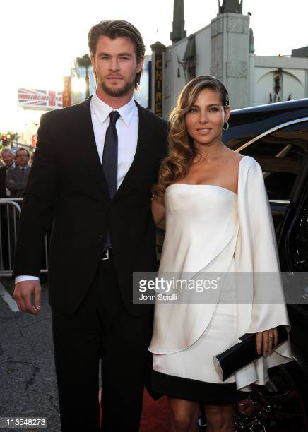 Actor Chris Hemsworth and Elsa Pataky arrive to the 'Thor' premiere featuring SHIELD edition Acura on May 2 2011 in Hollywood California