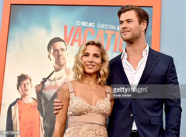 """Actor Chris Hemsworth and his wife model Elsa Pataky arrive at the premiere of Warner Bros. Pictures' """"Vacation"""" at the Village Theatre on July 27,..."""