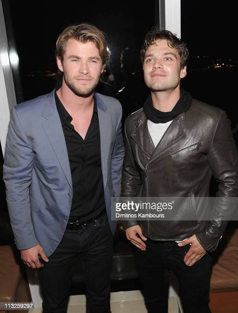 Actor Chris Hemsworth and Sebastian Stan attend The Cinema Society Acura screening of Thor after party at The Top of The Standard on April 28 2011 in...