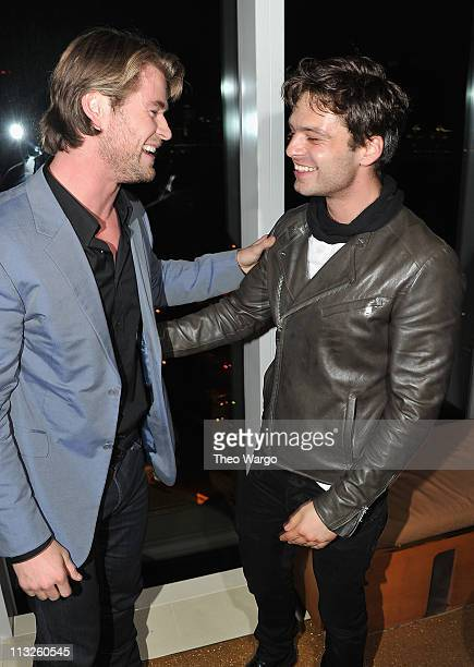 Actor Chris Hemsworth and Sebastian Stan attend The Cinema Society Acura screening of 'Thor' after party at The Top of The Standard on April 28 2011...