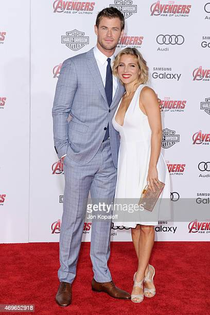 Actor Chris Hemsworth and wife actress Elsa Pataky arrive at the Los Angeles Premiere Marvel's 'Avengers Age Of Ultron' at Dolby Theatre on April 13...