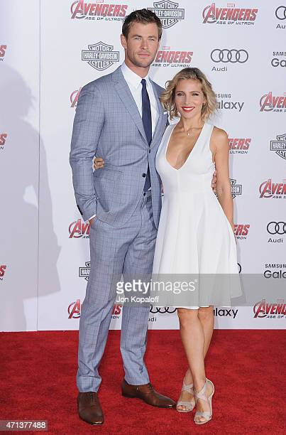 Actor Chris Hemsworth and wife actress Elsa Pataky arrive at the Los Angeles Premiere Marvel's Avengers Age Of Ultron at Dolby Theatre on April 13...