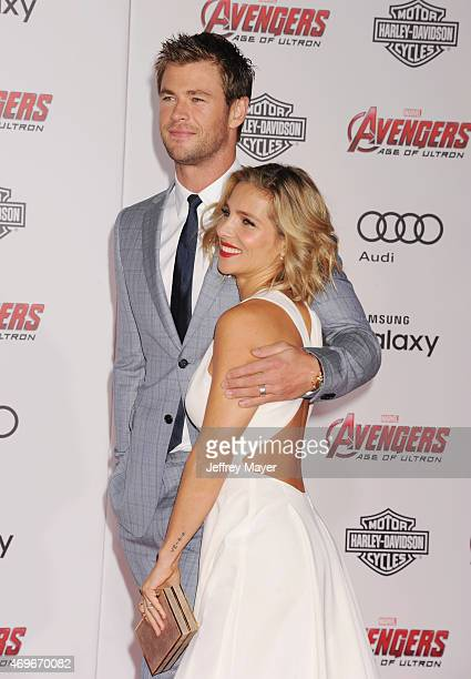 Actor Chris Hemsworth and wife actress Elsa Pataky arrive at the Marvel's 'Avengers Age Of Ultron' Los Angeles Premiere at Dolby Theatre on April 13...