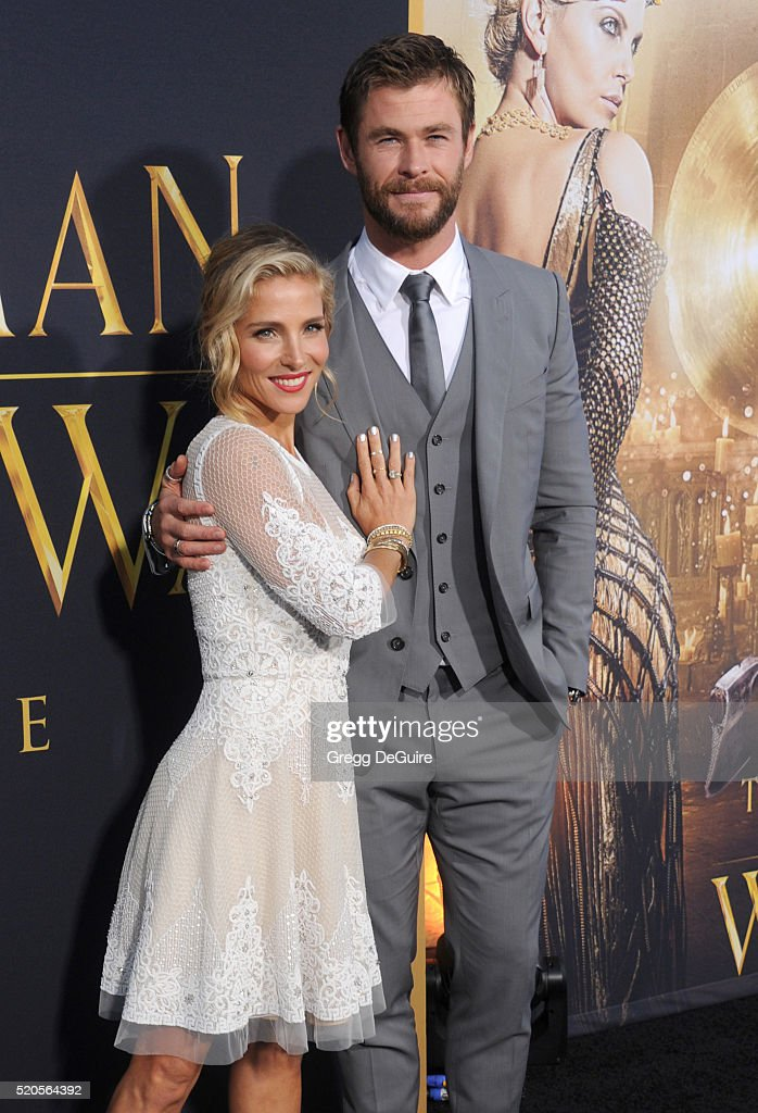 Actor Chris Hemsworth and wife Elsa Pataky arrive at the premiere of Universal Pictures' 'The Huntsman: Winter's War' on April 11, 2016 in Westwood, California.