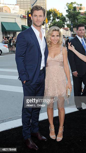 """Actor Chris Hemsworth and wife Elsa Pataky arrive for the Premiere Of Warner Bros. Pictures' """"Vacation"""" held at Regency Village Theatre on July 27,..."""