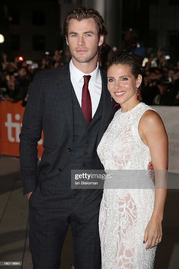 Actor Chris Hemsworth and wife Elsa Pataky attend the 'Rush' premiere during the 2013 Toronto International Film Festival at Roy Thomson Hall on September 8, 2013 in Toronto, Canada.