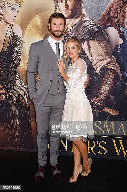 Actor Chris Hemsworth and wife/actress Elsa Pataky attend the premiere of Universal Pictures' 'The Huntsman Winter's War' at the Regency Village...