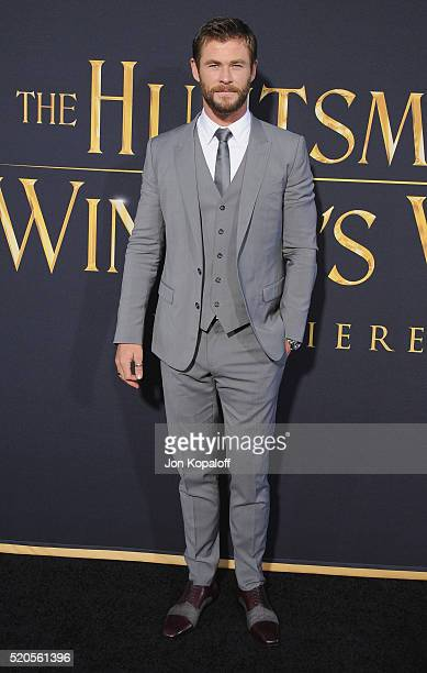 Actor Chris Hemsworth arrives at the Los Angeles Premiere Of Universal Pictures' 'The Huntsman Winter's War' on April 11 2016 in Westwood California
