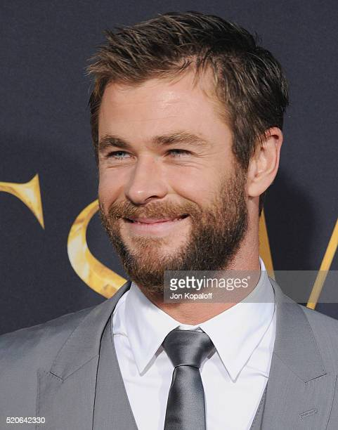 Actor Chris Hemsworth arrives at the Los Angeles Premiere Of Universal Pictures' The Huntsman Winter's War on April 11 2016 in Westwood California