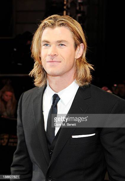 Actor Chris Hemsworth arrives at the Orange British Academy Film Awards 2012 at The Royal Opera House on February 12 2012 in London England